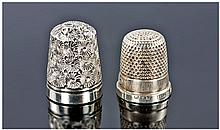 2 Silver Thimbles, One Fully Hallmarked