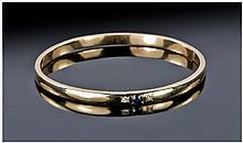Ladies 9ct Gold Diamond And Sapphire Inset Bangle.