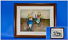 Pair of Mixed Media Framed Paintings. Modern