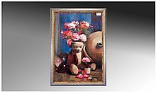 Bohuslav Barlow 1947 'Teddy Bear And Flowers',