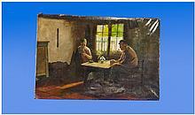 19th Century Dutch Interior Oil On Canvas,