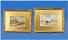 Thomas Bush Hardy 1842-1897 Pair Of Oils On Canvas