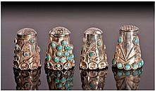 Four Silver Thimbles, each set with cabochon