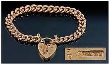 9ct Rose Gold Curb Bracelet With Heart Shaped