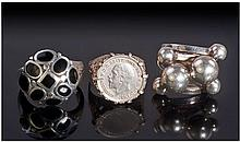 Three Silver Dress Rings, Stamped 925