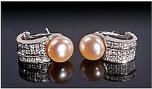 18 Carat White Gold Set Pair of Diamond and Pearl