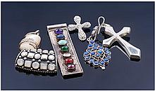 Collection Of Six Silver Pendants, Comprising
