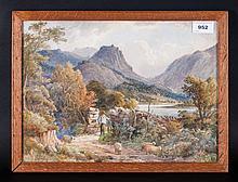 Joshua Renshaw (Exh 1886-1894) Lake District Scene With A Farmer By A Gate