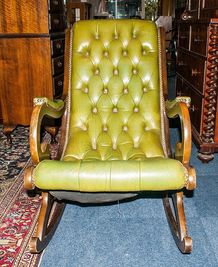 mahogany framed chesterfield rocker green leather button ba. Black Bedroom Furniture Sets. Home Design Ideas
