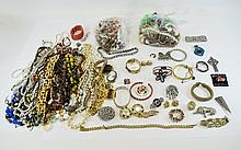 Box Of Costume Jewellery To Include Beads, Rings, Bracelets, Bangles, Brooches, Pendants Etc.
