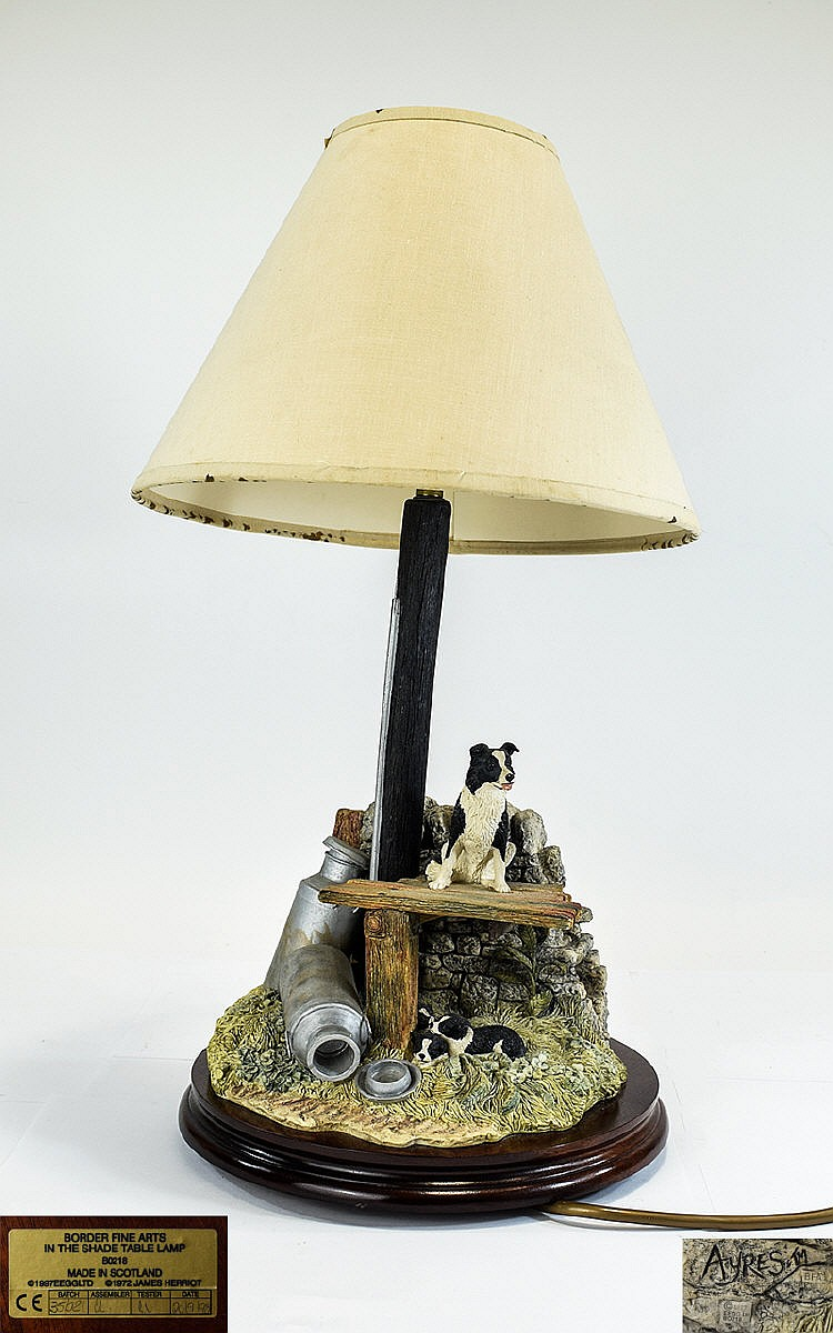 Border fine arts figural table lamp titled 39 in the shade for Table no border