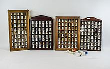 Large Collection of Assorted Thimbles, some displayed in purpose built wall