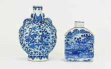 Chinese 19th Century Blue and White Porcelain Moon Flask, The Body with Foliate Decoration and Chrysanthemums Having Circular Panels Depicting Fighting Dragons, Qing Dynasty. 6.25 Inches High. Chinese 19th Century Blue and White Flask / Bottle with