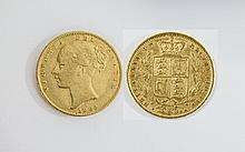 Queen Victoria Young Head / Shield Back 22ct Gold Full Sovereign. Date 1863, Die No 12 - London Mint, High Grade.