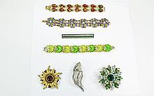 A Good Collection of Vintage Stone Set Jewellery ( 8 ) Items In Total. Includes Bracelets, Brooches. Nice Quality Vintage Costume Jewellery.