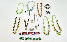 Excellent Condition of Vintage Stone Set Costume Jewellery ( 14 ) Pieces In Total. Comprises Bracelets, Necklaces, Bangles etc. All Pieces are In Excellent Condition.
