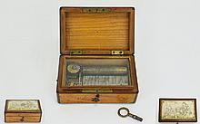A Miniature Music Box, 5 x 3.1/4 x 2 Inches, Contained In a Mahogany Case. The Cylinder Movement In Working Order, Top of Box Covered with Ivory Panel, Etched with Chinese Figures.
