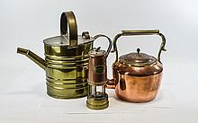 Copper Miners Lamp 'Lamp and Lime Light Company, Hockley'. Together with a copper kettle and a brass watering can. (3) items in total.