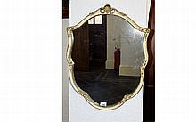 Regency - George III Shield Shaped Painted and Gesso / Wood Framed Wall Mir