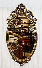 Regency 19th Century Gilded and Gesso / Wood Framed Oval Shaped Wall Mirror