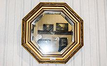 Regency Style Giltwood Octagonal Shaped Bevelled Wall Mirror with Ball Deco