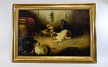 Edward Armfield 1817 - 1896 Title ' Up to Mischief ' Oil on Canvas. Signed.