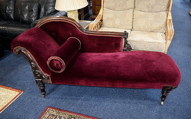 Antique chaise lounge attractive day bed in dark wood with c for Antique wooden chaise lounge