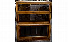Globe Wernicke in the style of Three Tier Solicitors oak Case Bookcase with glass sliding panels , 43 inches high, 36 inches wide and 14.5 inches deep. Overall good condition.