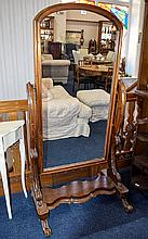 Large Victorian Mahogany Cheval Mirror Of Typical Form, Scrolling Supports, Shaped Cross Stretcher On Carved Feet, Height 66 Inches, 33 Inches Wide
