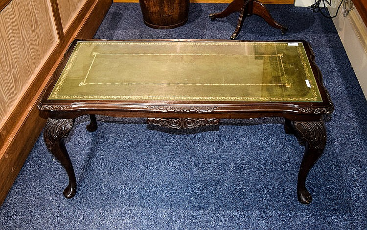 Coffee table dark wood with carved legs and apron tooled gr for Coffee tables 18 inches wide
