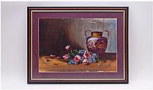 Framed and Glazed Oil on Board depicting Still