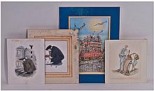 Four Hand Coloured And Drawn Original Pictures Of
