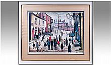 A Large Framed Lowry Print, titled 'A Procession'