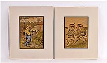A Pair Of Coloured Book Pages By Louis Wain,