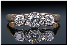 18ct Gold Vintage 3 Stone Diamond Ring, Fully
