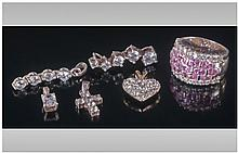 Collection Of Silver CZ Set Jewellery. Comprising