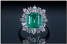 Platinum Diamond And Emerald Cluster Ring, the