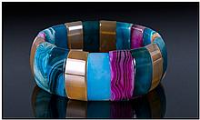 Banded and Cloudy Agate Multicolour Bracelet,