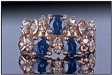 Ladies 14ct Gold Diamond And Sapphire Dress Ring,