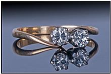 Ladies 18ct Gold Diamond Ring, Set With Two Round