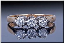 Ladies 18ct Gold Diamond Ring. Set With Three