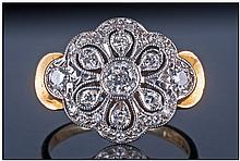Art Deco Style 18ct Gold Set Diamond Cluster Ring