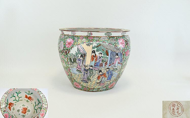 Chinese famille rose koi fish bowl large and highl for Koi fish bowl