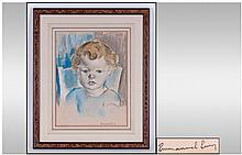 Emmanuel Levy Portrait Of A Young Boy. Pastel and