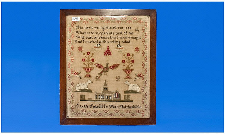 An Early Victorian Sampler By Sarah Sutcliffe,