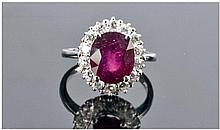 A Good Quality 14ct White Gold Set Ruby & Diamond