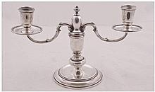 Silver 20th Century Small Two Branch Candelabra of