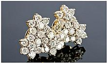 Pair of 18 Carat Diamond Cluster Earrings. Diamond