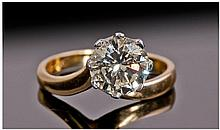 18ct Gold Set Single Stone Diamond Ring. The round