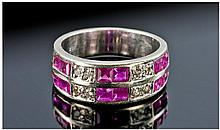 14 Carat Diamond and Ruby Twin Row Ring.